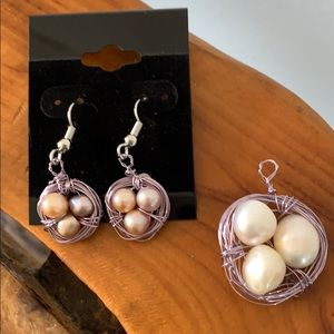 Jewelry - Handmade wired pearl earrings and pendent set